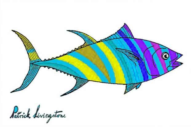 Tuna fish drawing colored l