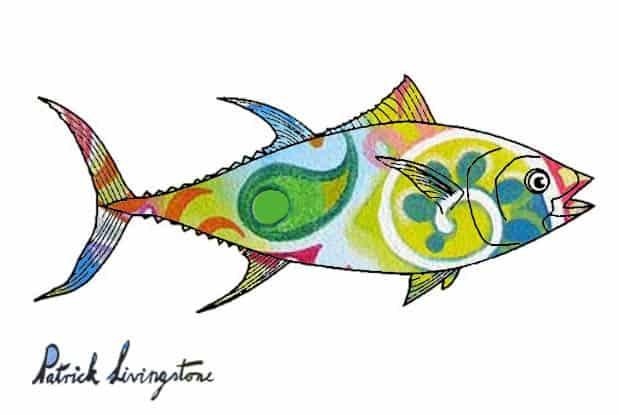 Tuna fish drawing colored o