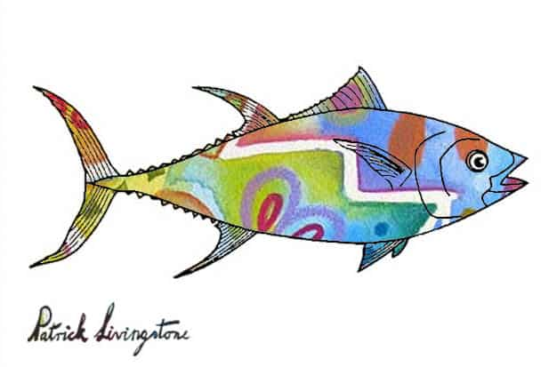 Tuna fish drawing colored p