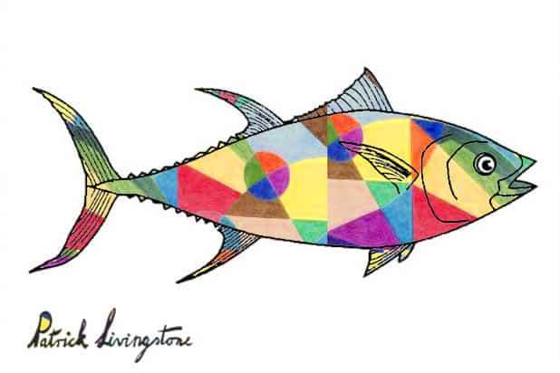 Tuna fish drawing colored q