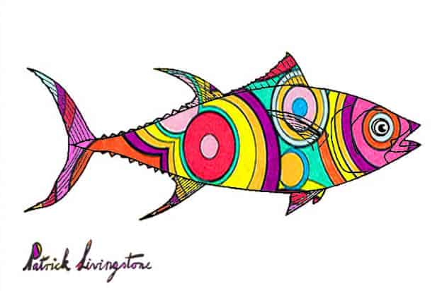 Tuna fish drawing colored t