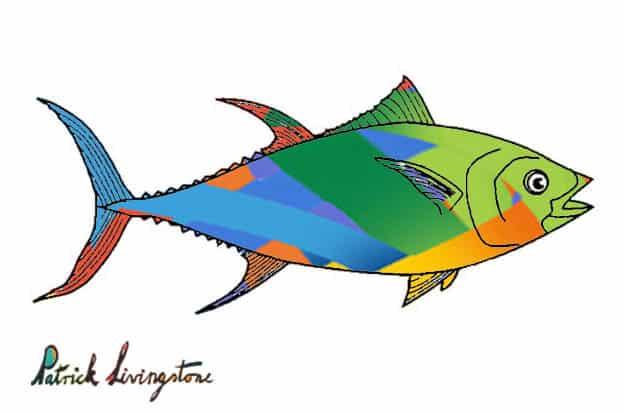 Tuna fish drawing colored u
