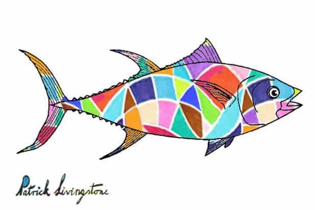 Tuna fish drawing colored y