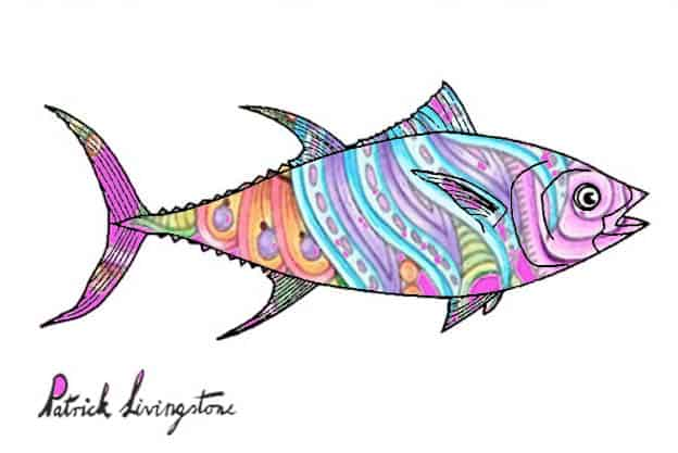 Tuna fish drawing colored z