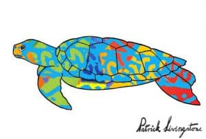 Turtle drawing colored blue on green