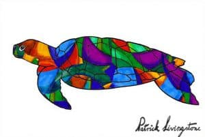 Turtle drawing colored dark glass