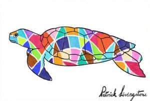 Turtle drawing colored diamonds