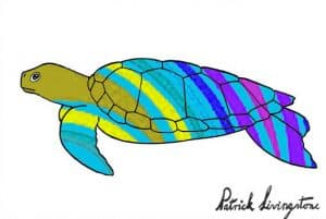 Turtle drawing colored green headed