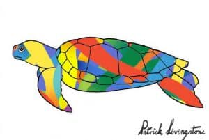 Turtle drawing colored modern
