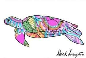 Turtle drawing colored paisley pink