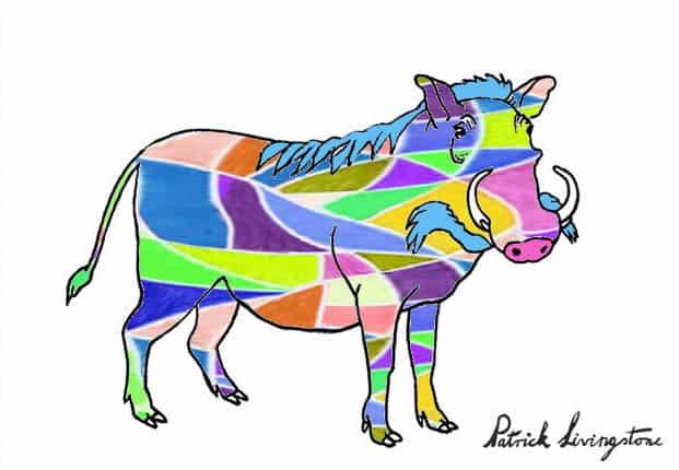 Warthog drawing colored e