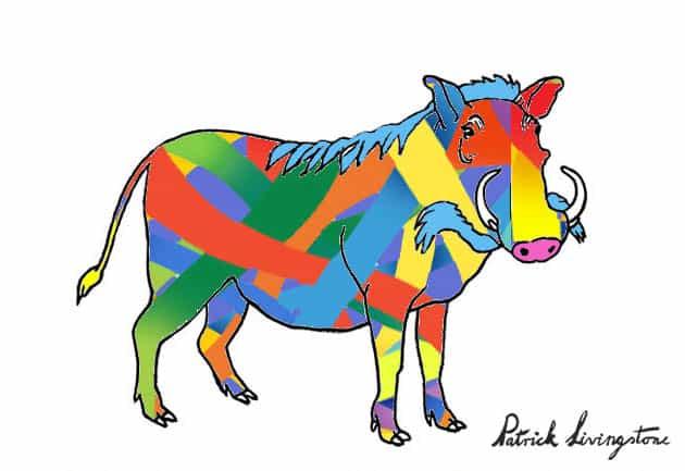 Warthog drawing colored f