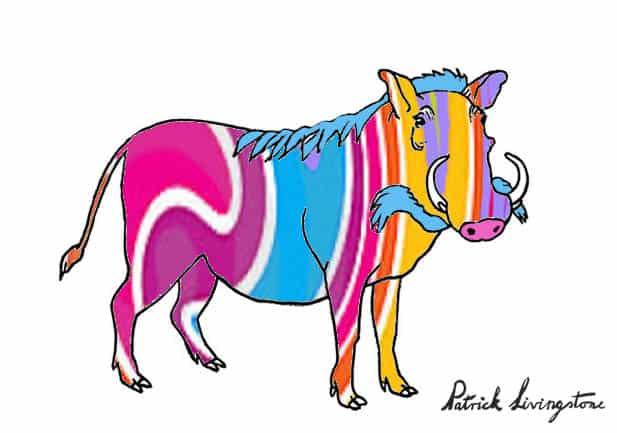 Warthog drawing colored fg