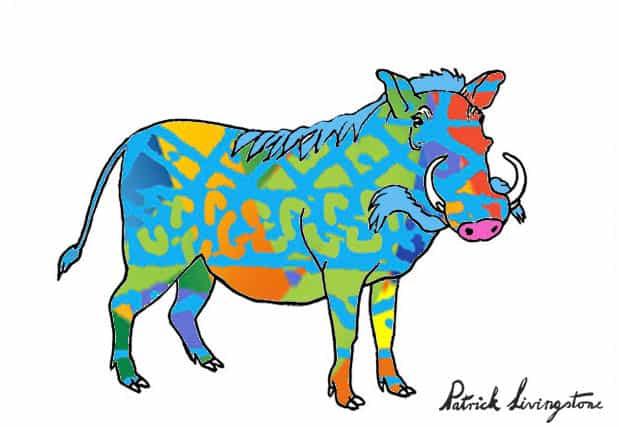Warthog drawing colored o