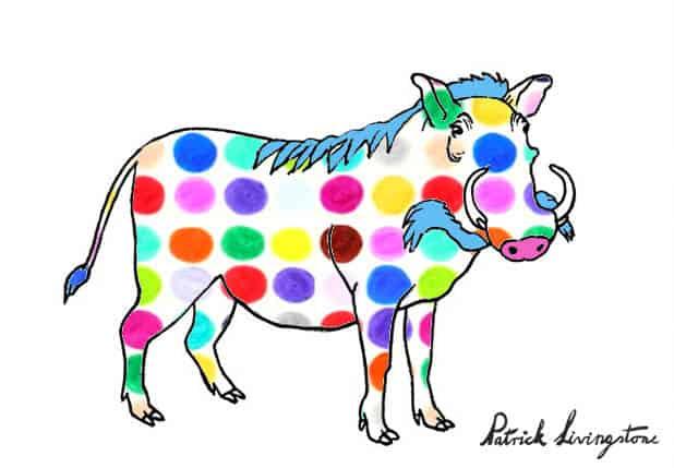 Warthog drawing colored q