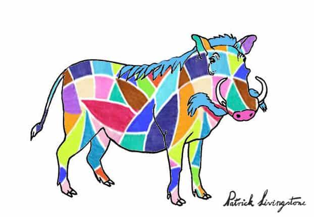 Warthog drawing colored u