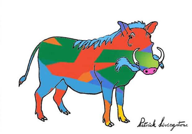 Warthog drawing colored y