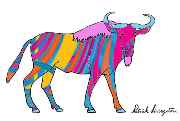 Wildebeest drawing colored wooly