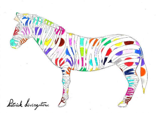 Zebra drawing colored d