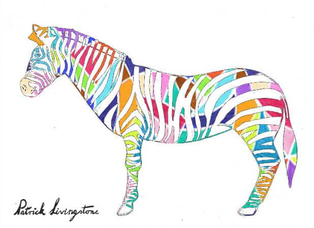 Zebra drawing colored e