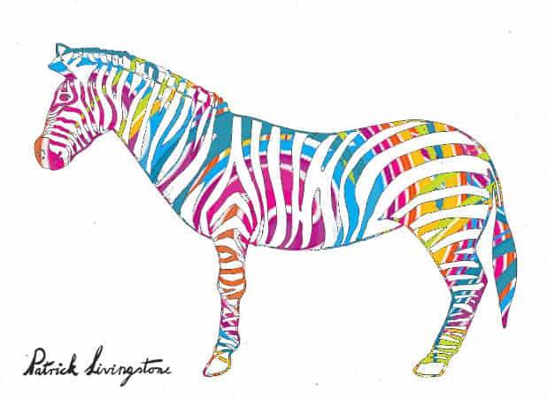 Zebra drawing colored f