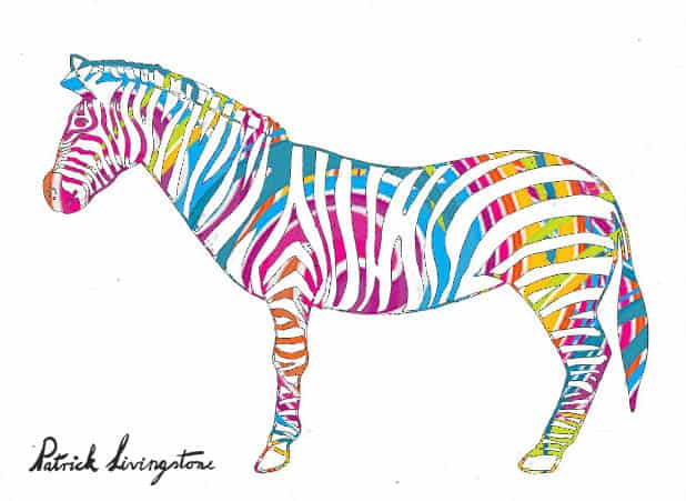 Zebra drawing colored f