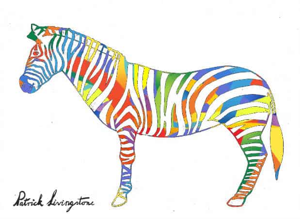 Zebra drawing colored o