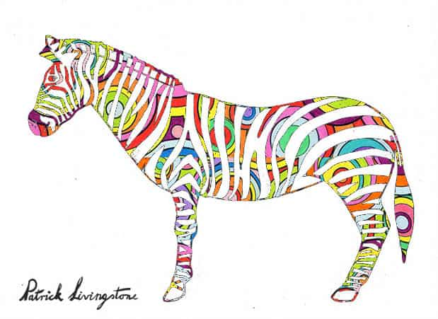 Zebra drawing colored p