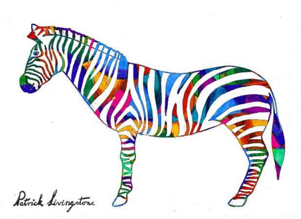 Zebra drawing colored q