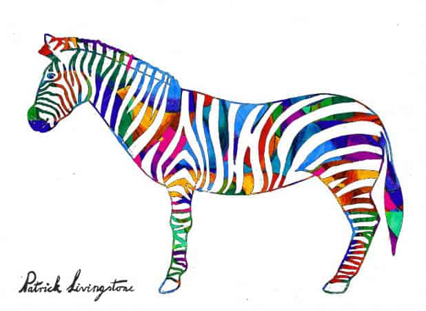 Zebra drawing colored q