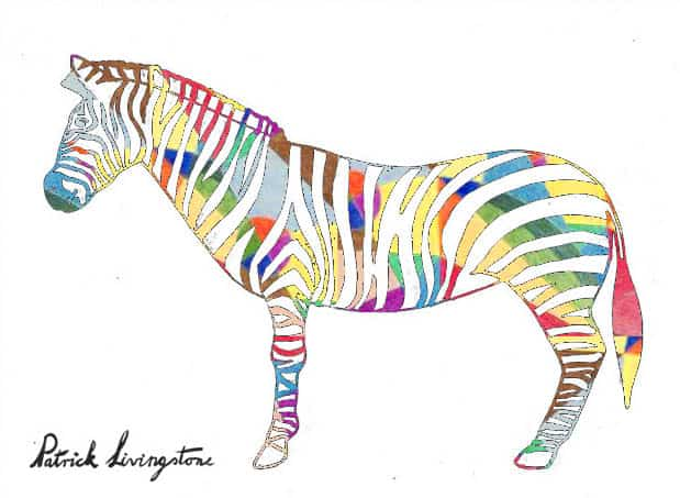 Zebra drawing colored u