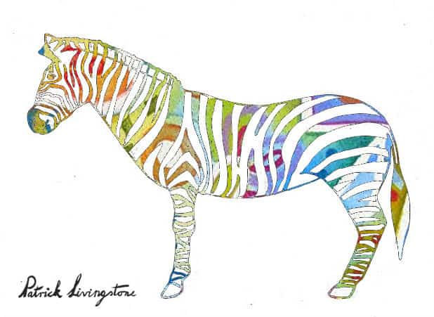 Zebra drawing colored y