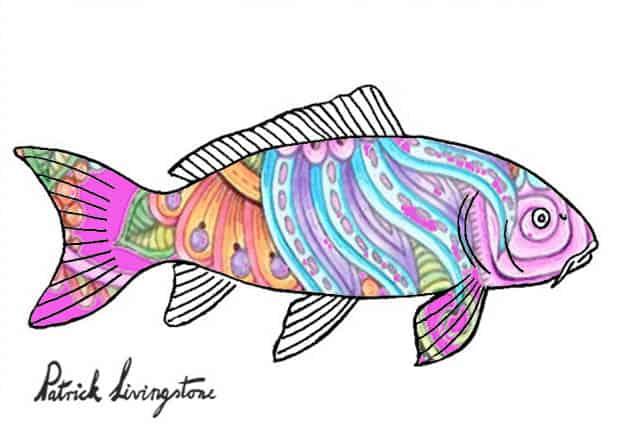carp drawing colored pinkish paisley